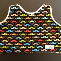 Rainbow Mustache Gender Neutral Baby Bib Toddler Bib Reversible
