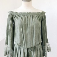 MARILYN OFF SHOULDER TOP- OLIVE