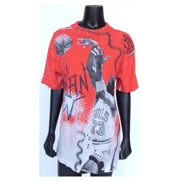 Vintage 90s Michael Jordan All Over Print Chicago Bulls Magic Johnson T-Shirt