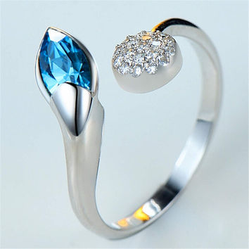 Womens Girls Unique White Gold Snake Ring with Crystal Adjustment Fashion Casual Jewelry Best Gift One Size Rings-93