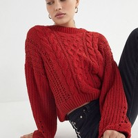 UO Lily Chenille Cable Knit Sweater | Urban Outfitters
