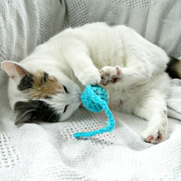 Crochet Catnip toy: Kitty cat nip hanging ball in choice of color for ur kitten, orange yellow purple green blue pink red brown black white