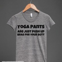 Yoga Pants Butt-Female Athletic Grey T-Shirt