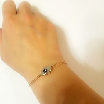 Gold White Pearl Hamsa Hand and Evil Eye Bracelet | 925 Sterling Silver