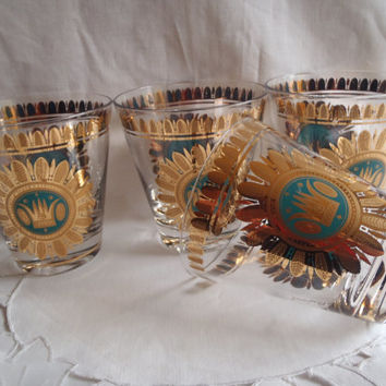 Mad Men Cocktail Glasses Georges Briard Turquoise and Gold ,Vintage Barware Set Gold Glass