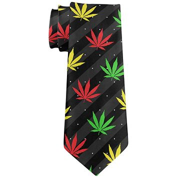 Pot Leaf Rasta Ugly Christmas Stripe Pattern All Over Neck Tie