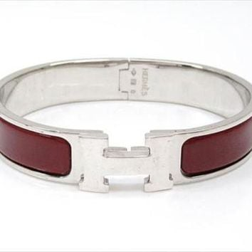 HERMES Clic Clac PM Bracelet Bangle Red Silver Ladies Free Shipping Mint #2019
