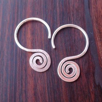 Hoop Earrings Tribal Minimal Spiral Hammered