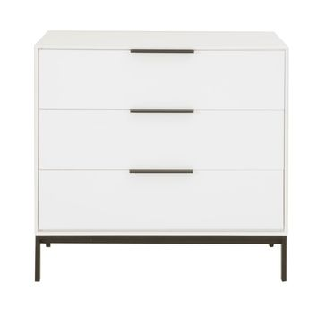 3-Drawer High Gloss Buffet With Silver Pulls White