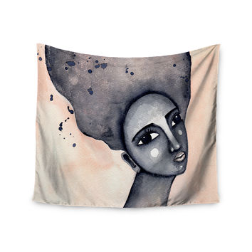 "Stacey-Ann Cole ""Yearning African American Art"" Beige Black Wall Tapestry"
