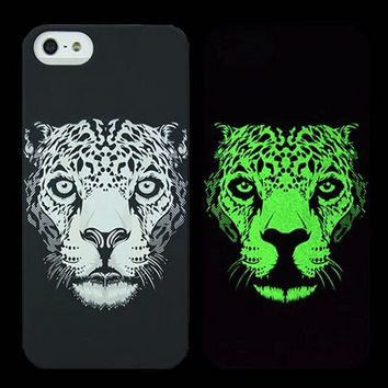 Leopard Animal Handmade Sketch Luminous Light Up iPhone creative cases for 5S 6 6S Plus Free Shipping