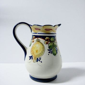 Vintage Ceramic Pitcher Andrea by Sadek - Jay Willfred Fruit Decorated Portugal
