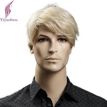 Yiyaobess 6inch Heat Resistant Synthetic Short Blonde Wig Natural Hair Men Straight hairStyles