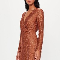 Missguided - Peace + Love Copper Sequin Wrap Mini Dress