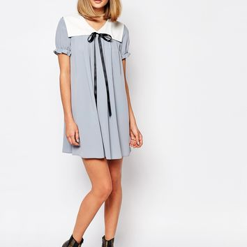 Reclaimed Vintage X Liquid Lunch Babydoll Dress With Collar & Tie Detail