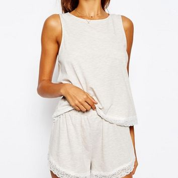 ASOS Lace Trim Vest & Short Pyjama Set at asos.com