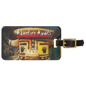 """Adventure"" cute oddball figure photo luggage tag"