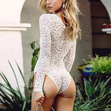Celmia Women White Crochet Lace Bodysuits Sexy Deep V Neck Lace Up See Through Jumpsuit Clubwear Plus Size Rompers Playsuit