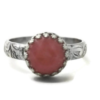 Andean Pink Opal Ring, Floral Renaissance Ring, Opal Jewelry, Gemstone Engagement Ring, Natural Gemstone Ring,
