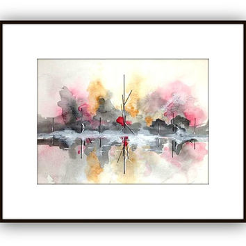 Abstract landscape watercolor orginal painting  Pink and black with amber loosley painted fall landscape 11 x 15