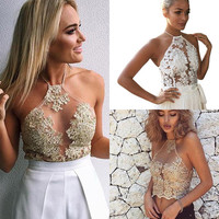 Women Crochet Tank Tops Sleeveless Lace Vest Blouse Bralette Bra Cami Crop Top