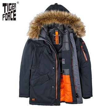 TIGER FORCE High Quality Men Padded Parka Cotton Coat Winter Jacket Mens Winter Coat Thick Parkas Artificial Fur Free Shipping