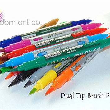 12 Pack Dual Tip Watercolor Brush Pen Set- Brush Tip & Fine Tip, Water Based Markers, All Levels of Experience, Blending, Shading, Calligraphy, Drawing, Rich, Vibrant Colors Great For Adult Coloring