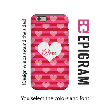 Valentine's Day iPhone case, red and pink stripes with hearts iPhone case, gift for her, iPhone 4/4s/5/5s/5c/6/6s and 6/6s Plus case