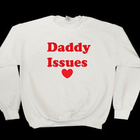 Daddy Issues Women's Casual Black Gray White & Pink Crewneck Sweatshirt