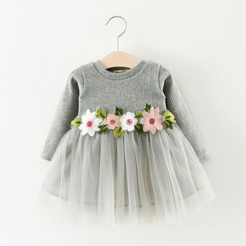 Baby Girl  dress  Autumn spring Fashion Costume For Kids Casual Toddler Girls Yarn Party Dresses Children Clothing
