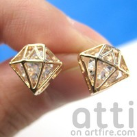 SMALL 3D Diamond Shaped Rhinestone Shiny Bling Stud Earrings in Gold from Dotoly Love