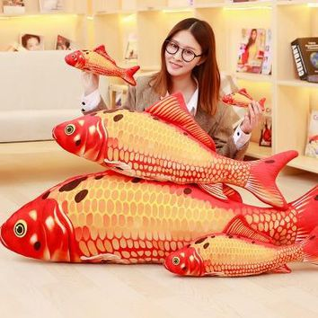 Carp Koi Fish Shaped PP Cotton Pillows Funny Plush Exercise Scratch Play Toys For Small Cat Pets Kitten Supplies With Catnip