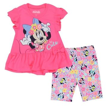 MINNIE MOUSE Girls 2-4T 2-Piece Pink Bike Short Set.