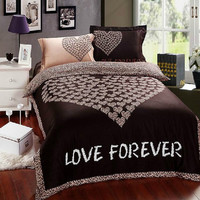 Love Forever Print bedding set Cotton Satin Duvet Cover Set Girl bedding set w/ match sheet & 2pc pillow covers Bedding gift for lovers
