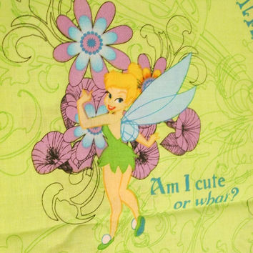 Tinkerbell fabric, Tink fabric, Licensed, Novelty, Cotton fabric, Girls, kids, children, Quilting, Sewing, Craft, 1/4 yard, 1/2 yard, 1 yard