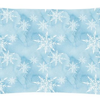 Watercolor Snowflake on Light Blue Canvas Fabric Decorative Pillow BB7552PW1216