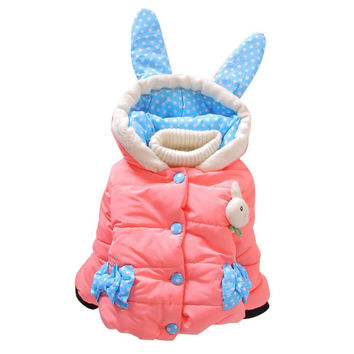 Toddler Girl Thickening Jackets Parkas Baby Girls Winter Coat Hooded Jacket Cartoon Rabbit Children Outerwear