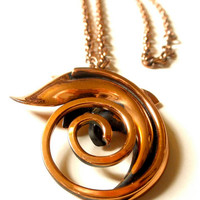 Vintage Spiral Copper Necklace Pendant on Copper Chain // Mid Century Modern // Late 50s Early 60s