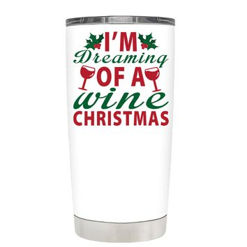 TREK Im Dreaming of a Wine Christmas on White 20 oz Tumbler Cup