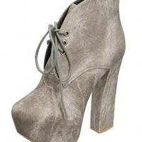 GREY STYLISH LACE UP BOOTIE @ KiwiLook fashion