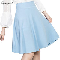 TANGNEST Elegant High Waist Knee Length Skirts 2017 Summer Fashion Woman Candy Color Skirt With Shorts Pleated Midi Skirt WKQ054
