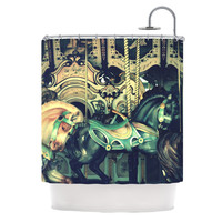 "Robin Dickinson ""Carousel"" Green Horse Shower Curtain"
