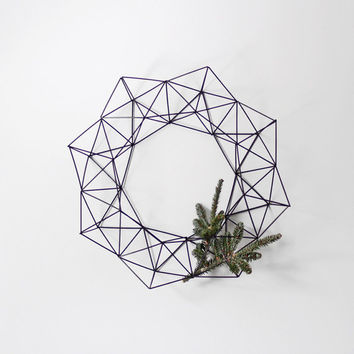 Large Himmeli Wreath / Modern Geometric Wall Sculpture / Minimalist Home Decor