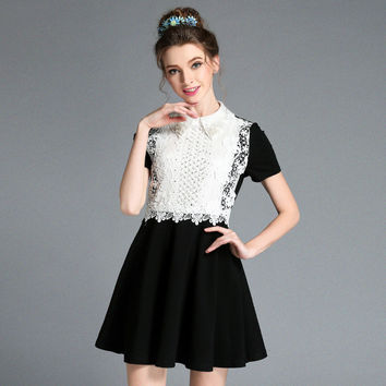 Women Elegant Plus Size Summer Casual Party Lace Fit Flare Little Black Dress l,xl,2xl,3xl,4xl,5xl