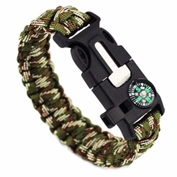 EMAK Paracord Rope 550 Camping Survival Kits Parachute Wristband Emergency Rescue Bracelet Whistle Compass Z503