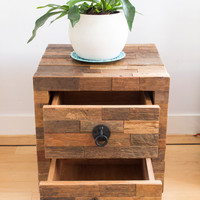 Rustic nightstand with drawers made of reclaimed wood