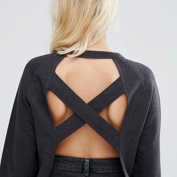 ASOS Sweatshirt With Cross Back In Wash