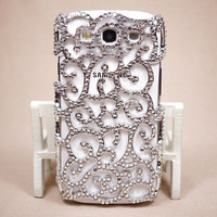 Bling rhinestone Samsung Galaxy S3 flower design case