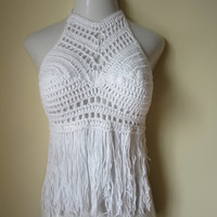 Festival top, Crochet halter top, halter top, fringe halter, bikini cover, beachwear, summer top, gypsy, Boho chic, WHITE , Cotton