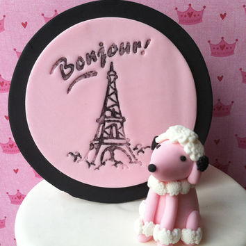 French poodle fondant cake topper. Fondant poodle dog topper. Fleur de lis fondant topper. French themed fondant topper set. Paris fondant.